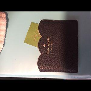 KATE SPADE ID CARD WALLET *New black w gold emblem